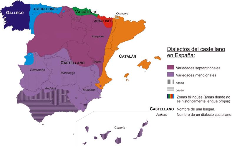 Карта испанских диалектов