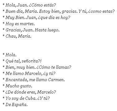 Знакомстве при выражения испанские